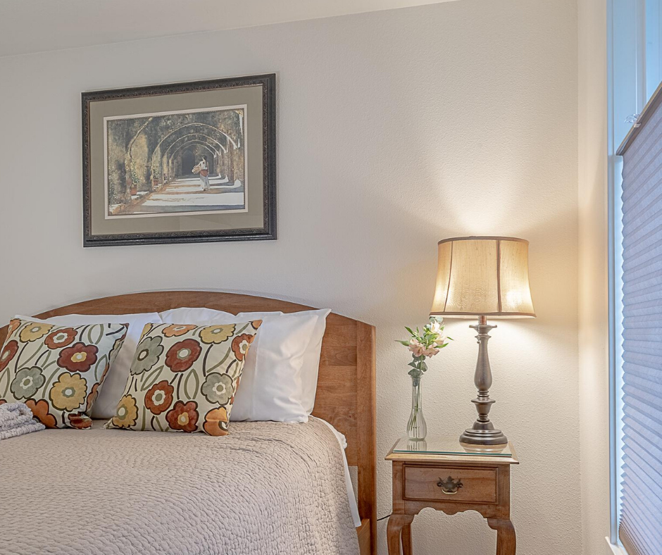 Showing cozy bedroom from a Corvallis townhome vacation rental