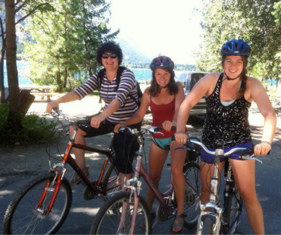a family enjoys bicycling in Corvallis